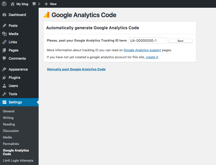 WordPress Google Analytics Add to WordPress