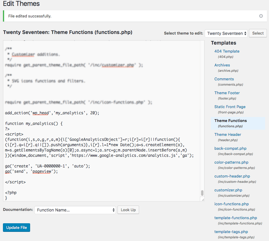 Google Analytics Added Code in functions.php