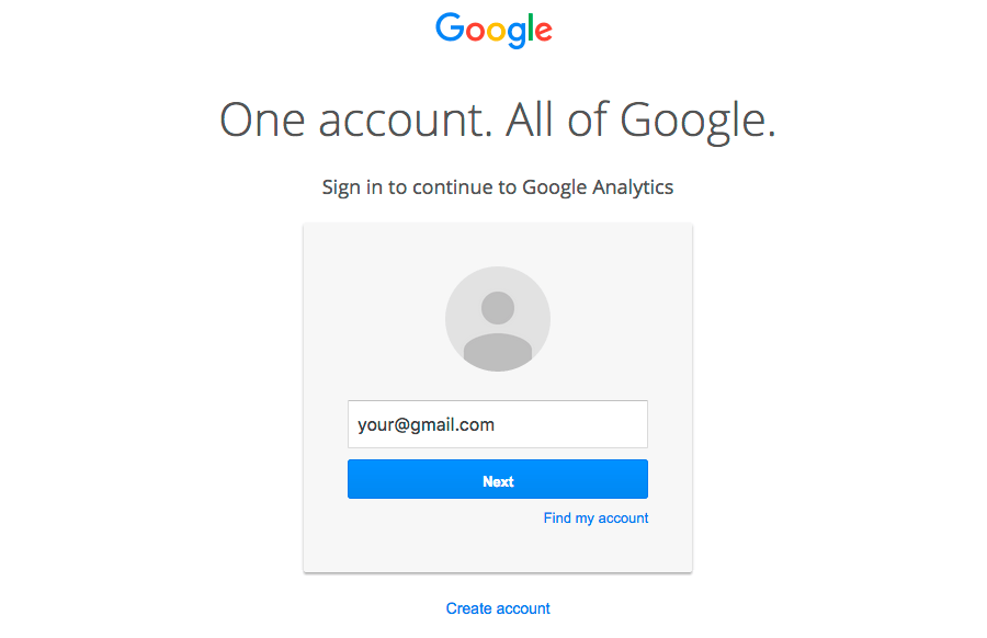 Google Analytics Login Form