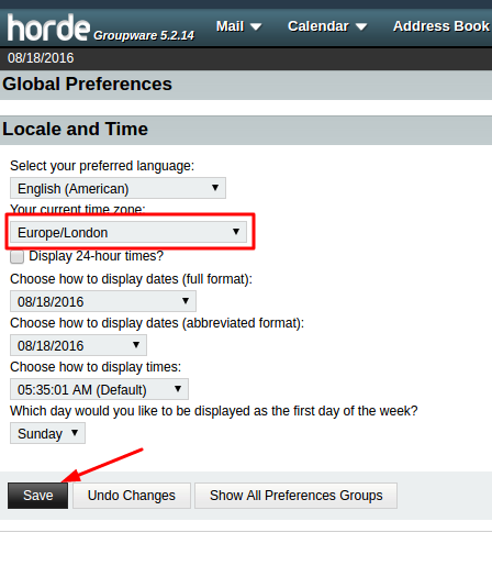 Time Zone settings -> Save