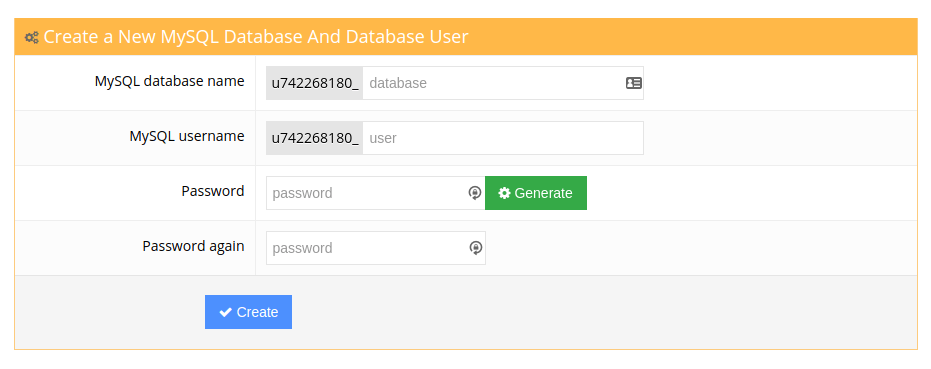 Hostinger Database creation