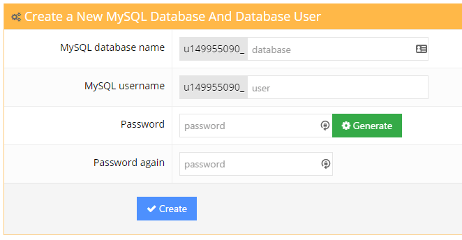 Hostinger MySQL Database creation