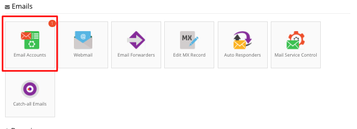 Hostinger Email Accounts Section
