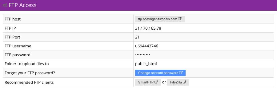 Hostinger FTP Access Section