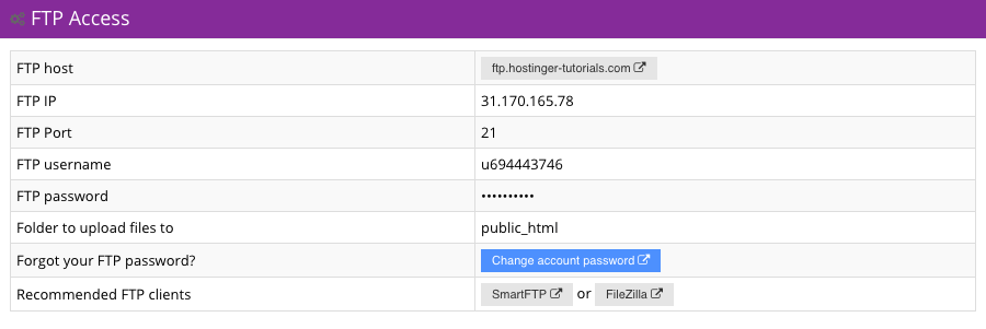 Hostinger FTP Access Section