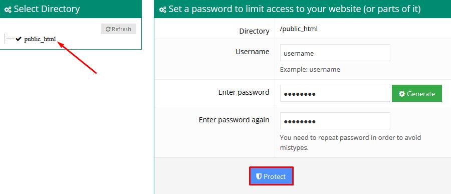 Hostinger Password Protect Directories