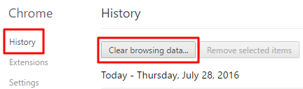 Clear browsing data location