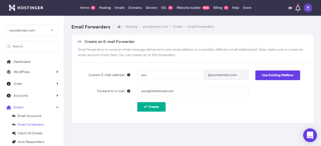 Screenshot of hPanel's email forwarding page