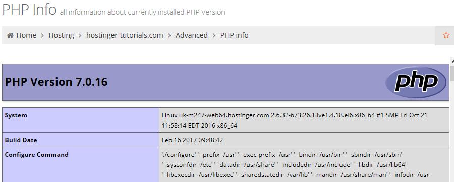 màn hình PHP info