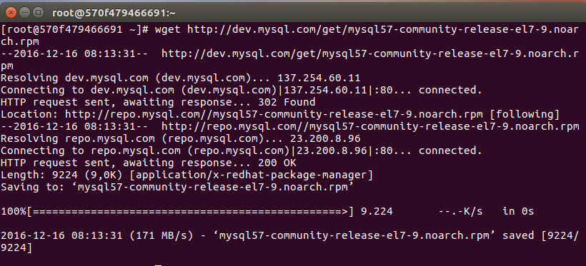 downloading mysql repo saved