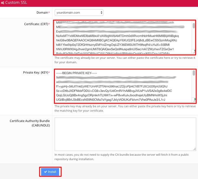 Instalación de SSL a través de la sección SSL