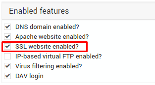 Enable SSL site feature