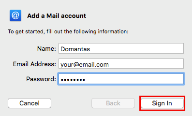 Mac Mail Add a Mail Account Fill Information