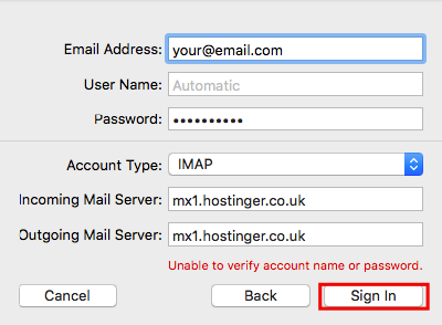 Mac Mail Enter Email Details Manually