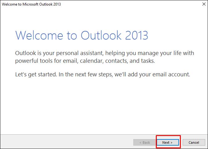 Outlook welcome window