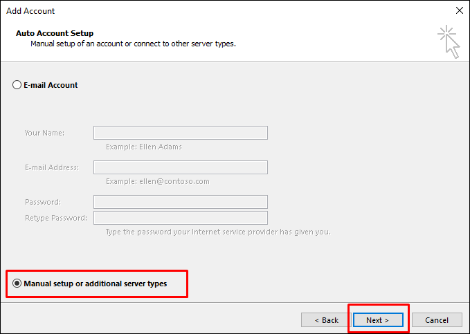 Outlook auto/manual option