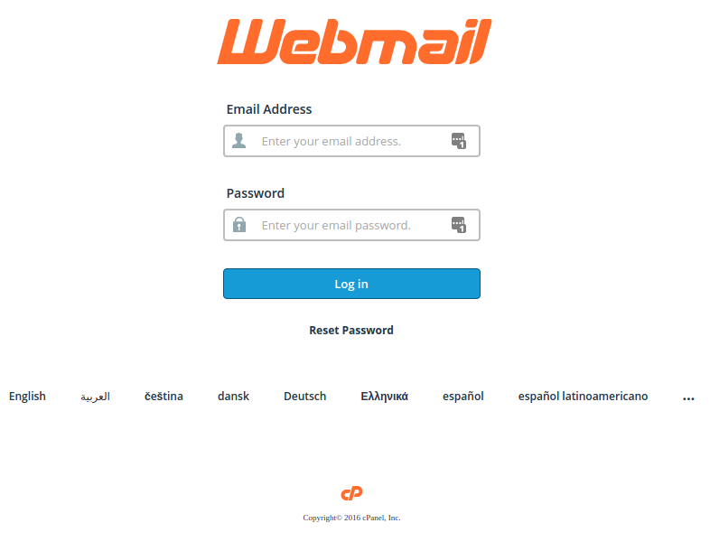cPanel webmail login page