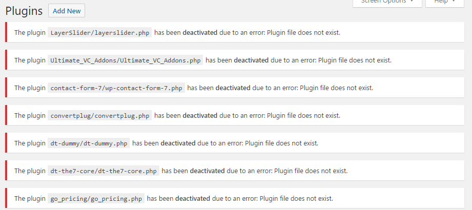Missing Plugins in WordPress