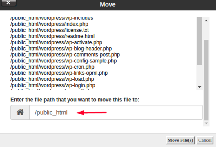 Specify location where files will be moved