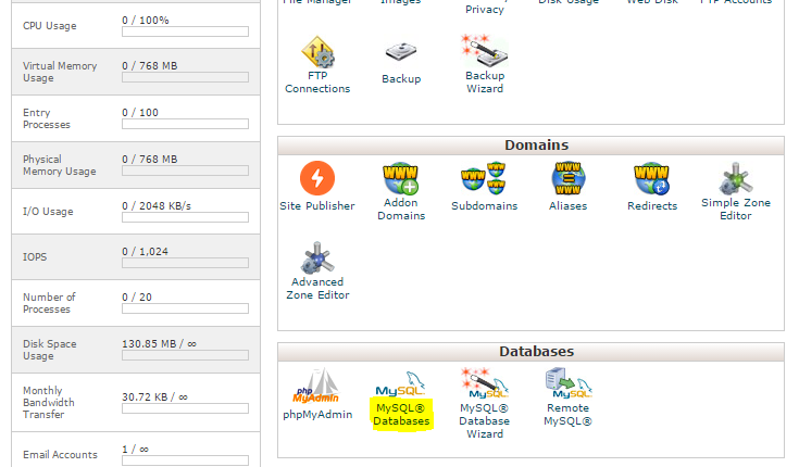 cPanel MySQL Databases are located in Databases section.