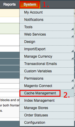 Navigating to Magento Caching