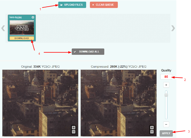 Optimizilla image optimization process from baseline to progressive jpeg