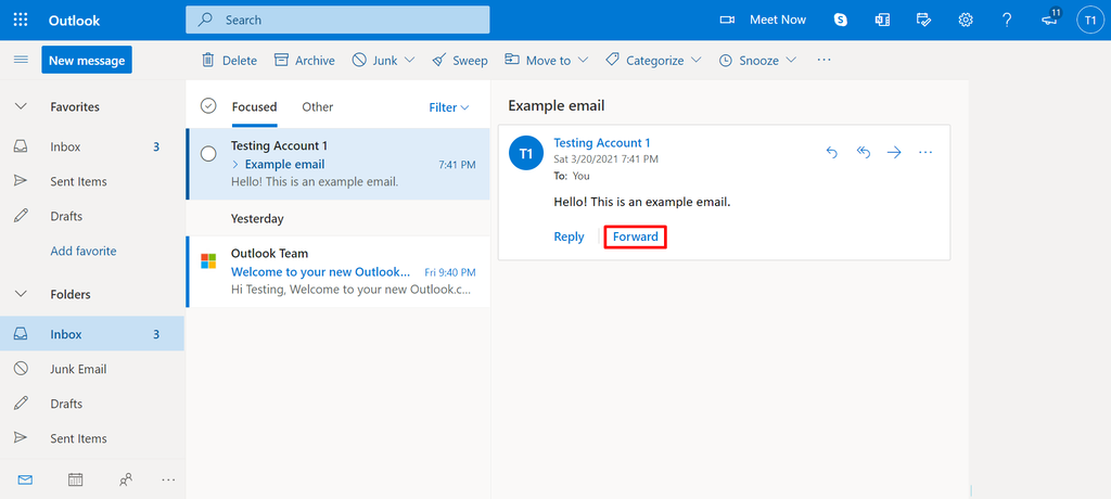 Screenshot of where to find the forward email button in Outlook