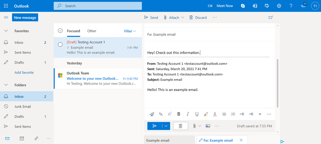 Screenshot of how to add text to a forwarded message in Outlook