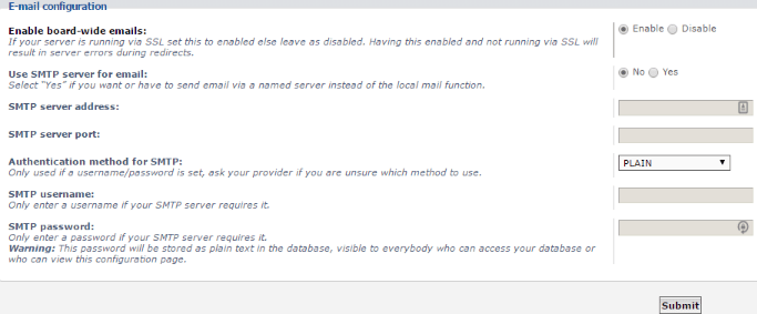 phpBB kurulumu email ayarları