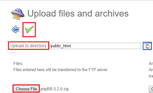 Upload phpBB installation