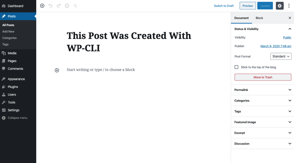 A WordPress blog post created using WP-CLI