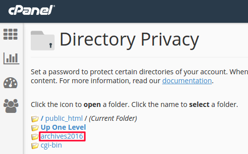 Selecting directory to be protected