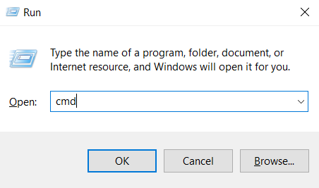 The Run application to open command prompt on Windows