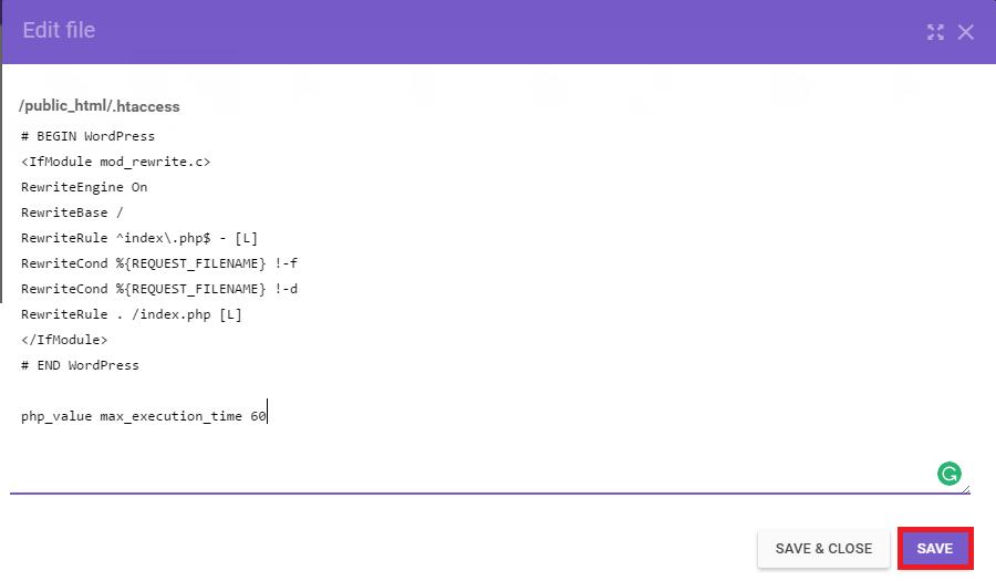 simpan htaccess dengan limit waktu max execution time yang sudah dinaikkan