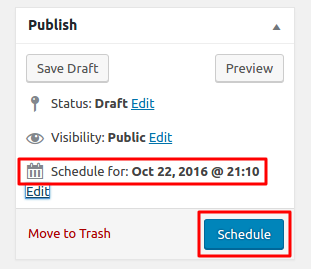 Wordpress Schedule post