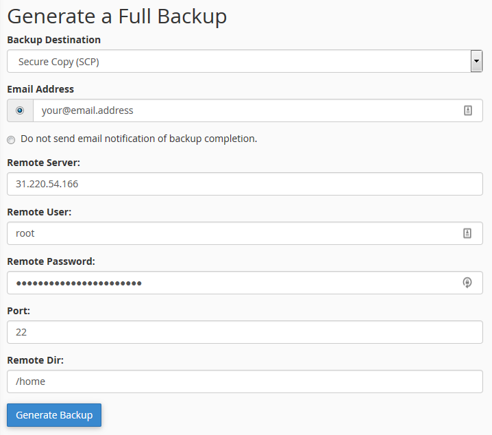 Creating and Transferring The Backup