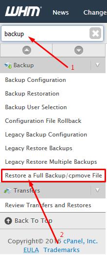WHM Backup Section