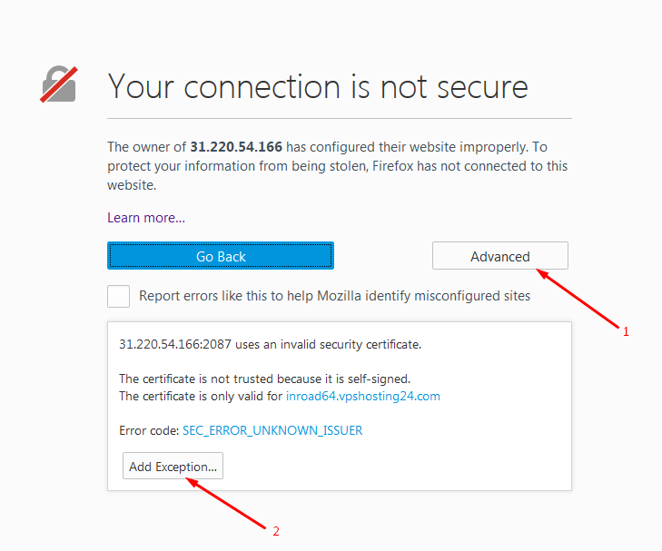 Connection Not Secure Message