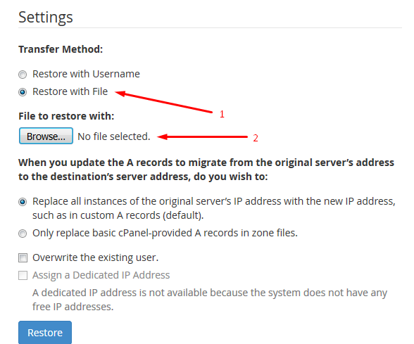 WHM Restore Backup from Computer