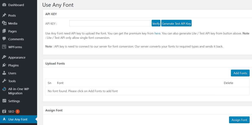 Using the Use Any Font plugin