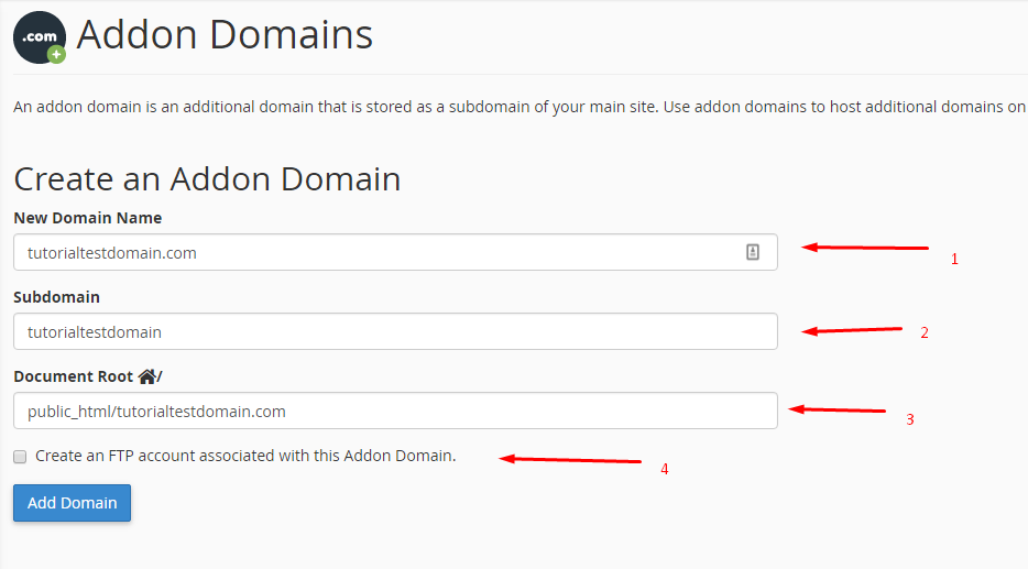 Addon domain section - filled