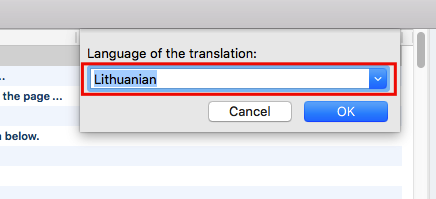 Select language to translate your theme to