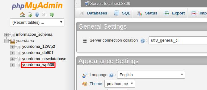 Selecting Database on phpMyAdmin