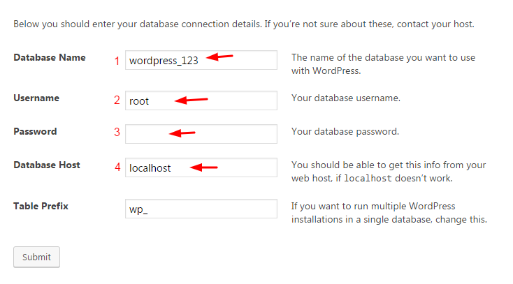 setting wordpress database details