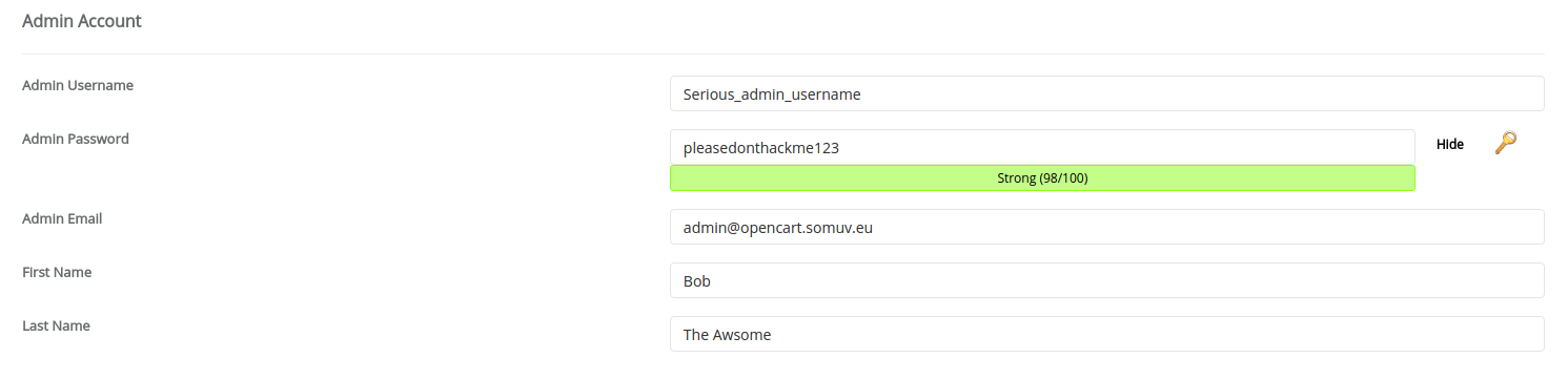 Admin Account info