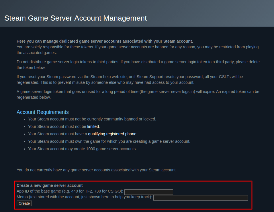 Steam Create Game Server Account