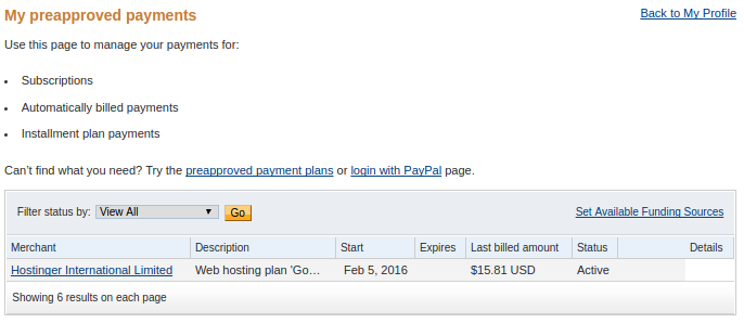 Preapproved payments screen