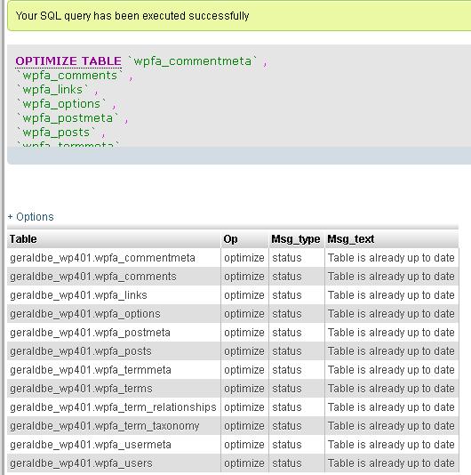 MySQL database optimization process