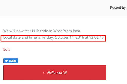 PHP code in WordPress Post gets executed