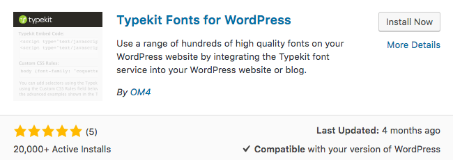 Typekit Fonts For WordPress Plugin